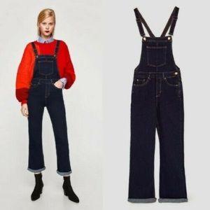Zara Denim Long Pants Overalls Flare Leg Size S